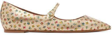 Tabitha Simmons Hermione Floral-print Metallic Leather Point-toe Flats - Gold