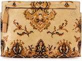Loewe Suede & Leather Tapestry T Pouch, Yellow