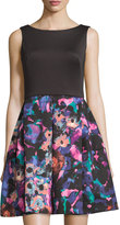 Taylor Sleeveless Scuba Floral Fit & Flare Dress, Black Multi