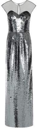 Sachin + Babi Cutout Paneled Sequined Tulle Gown