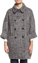 Brunello Cucinelli Plaid 3/4-Sleeve Wool-Blend Jacket, Onyx