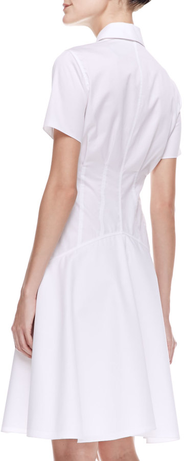 Jason Wu Two-Collar Cotton Poplin Flounce Shirtdress, Ivory