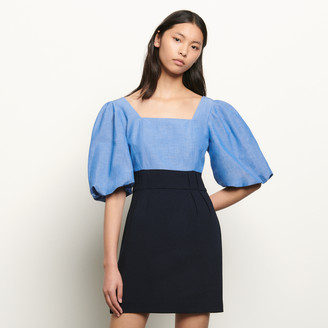 Sandro Dual material dress with square neckline