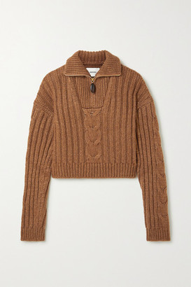 Nanushka Eria Cropped Cable-knit Sweater - Light brown
