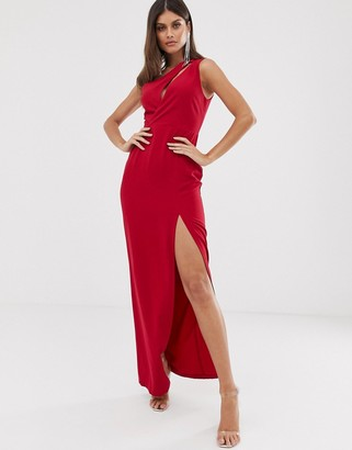 Vesper one shoulder maxi dress in red