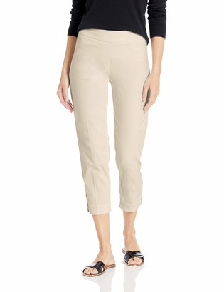 Slim Sation SLIM-SATION Women's Pull On Solid Skinny Crop with Faux L Pockets & Lacing