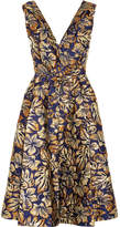 Prada Floral-jacquard Midi Dress - Navy