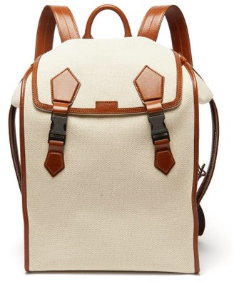 Dolce & Gabbana Leather-trimmed Canvas Backpack - Beige