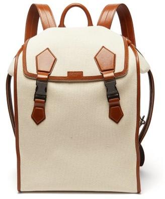 Dolce & Gabbana Leather-trimmed Canvas Backpack - Mens - Beige