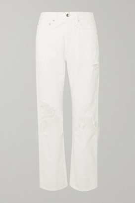 A Gold E Agolde AGOLDE - '90s Distressed High-rise Boyfriend Jeans - White