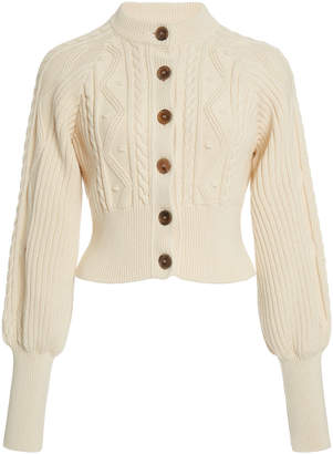 Temperley London Shelley Puff-Sleeve Cotton Cropped Cardigan