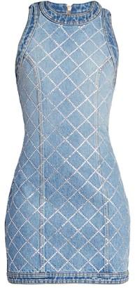 Balmain Strass Grid Denim Sleeveless Dress