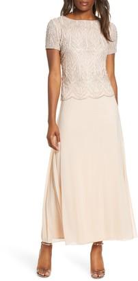 Pisarro Nights Beaded Bodice Chiffon Gown