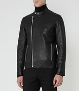 Reiss Georgia Leather Tab Collar Jacket