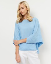 Jaeger Linen Square-Sleeve Top