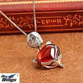 Generic S925 Silver garnet crystal necklace Pendant necklace Pendant women girl _fox_ Korean fashion _temperament_ short _paragraph_ clavicle chain women girl ornaments