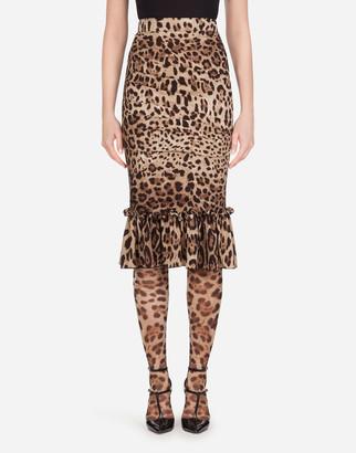 Dolce & Gabbana Leopard-Print Charmeuse Midi Skirt