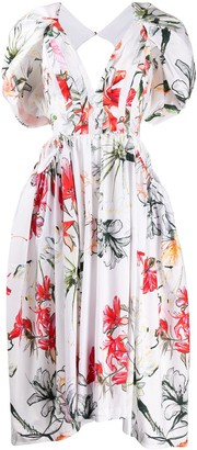 Alexander McQueen Endangered Flower poplin midi dress