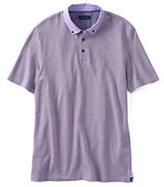 Classic Men's Short Sleeve Supima Micro Pique Woven Collar Polo Shirt-Rich Sapphire