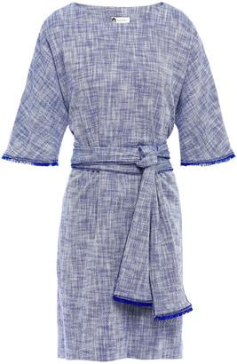 Lanvin Tie-front Fringe-trimmed Cotton-blend Tweed Mini Dress
