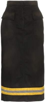 Calvin Klein high-waist reflective stripe midi skirt