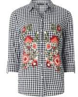 Dorothy Perkins Womens Black and White Gingham Embroidered Shirt