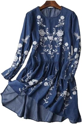 Goodnight Macaroon 'Helena' Embroidered Dark Blue Chambray Dress