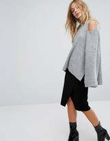 Fashion Union Oversized Knitted Jumper With Cold Shoulder In Rib