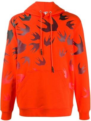 McQ Swallow-print cotton hoodie
