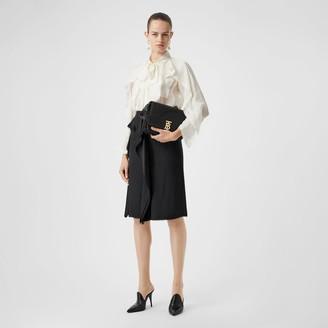 Burberry Ruffle Detail Silk Satin Pencil Skirt