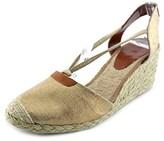 Lauren Ralph Lauren Cala Women Open Toe Canvas Tan Wedge Sandal.