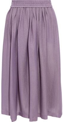 Etro Pleated Metallic Silk-blend Twill Skirt