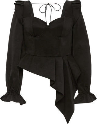 Self-Portrait Asymmetric Peplum Top