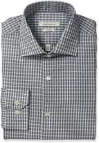Perry Ellis Men's Slim Fit Wrinkle Free Classic Check Dress Shirt with Adjustable Collar