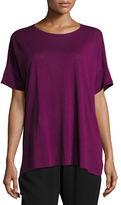 Fine Silk/Linen Round-Neck Tunic, Plus Size