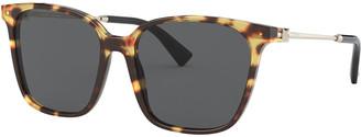 Valentino Square Acetate/Metal Sunglasses