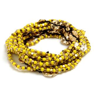 Amrita Singh Women's Bracelets Yellow - Yellow & 18k Gold-Plated Amelie Stretch Bracelet Set