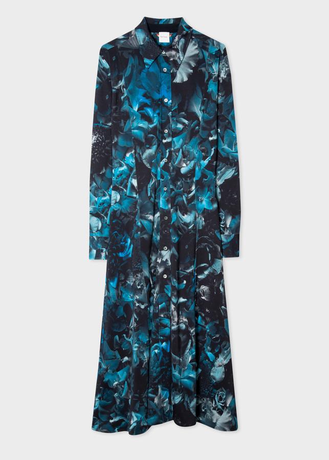 Paul Smith Women's Blue 'Floral Photo' Jersey Shirt Dress