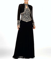 J Kara Bolero Beaded Bodice with Mock Neck Jacket Dress