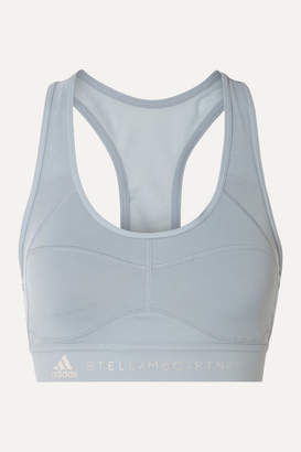 adidas by Stella McCartney Performance Essentials Mesh-paneled Climalite Sports Bra - Sky blue