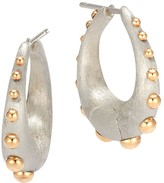 John Hardy 18K Yellow Gold and Sterling Silver Dot Medium Hoop Earrings