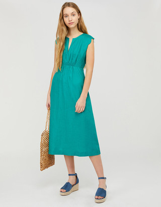 Under Armour Ornella Scalloped Sleeve Midi Dress in Pure Linen Green