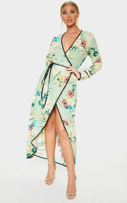 PrettyLittleThing Sage Green Floral Wrap Ankle Grazer Maxi Dress