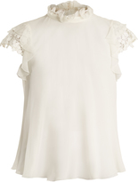 Giambattista Valli Lace-sleeve silk-georgette blouse