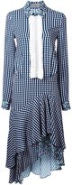 Preen by Thornton Bregazzi gingham asymmetric shirt dress
