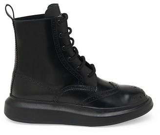 Alexander McQueen Brogue Wingtip Leather Platform Combat Boots