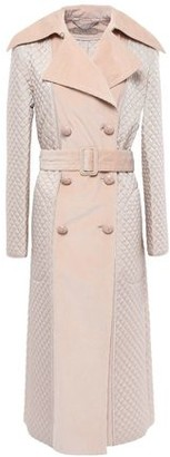 Nina Ricci Double-breasted Corduroy-paneled Quilted Cotton-blend Coat