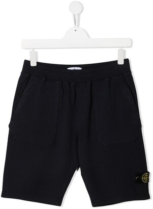 Stone Island Junior TEEN logo-patch track shorts
