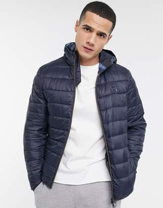 Barbour Harg storm force quilted jacket with inner camo in navy