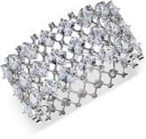Carolee Silver-Tone Crystal Hinged Cuff Bracelet
